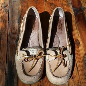 SPERRY DOCKSIDERS TAN AND GOLD GLITTER SIZE 7.5